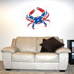 Shore Redneck Dixie Flag Crab Wall Decal