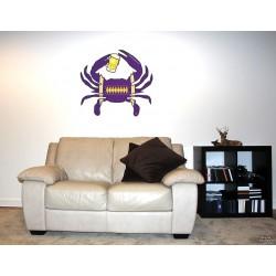 Shore Redneck Purple/Black/Gold Football Beer Crab Wall Decal