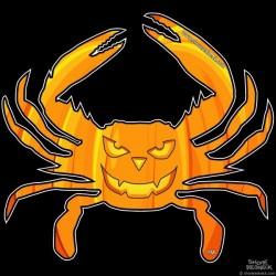 Shore Redneck Jack O Lantern Crab 2 Decal