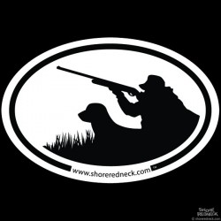 Shore Redneck Simple Waterfowl Hunter Oval Decal