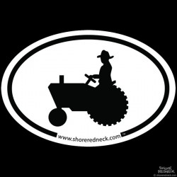 Shore Redneck Simple Tractor Oval Decal