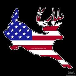 Shore Redneck U.S. Flag Jumping Buck Decal