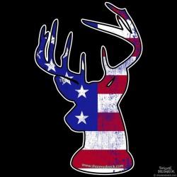 Shore Redneck Worn U.S. Flag Buck Decal