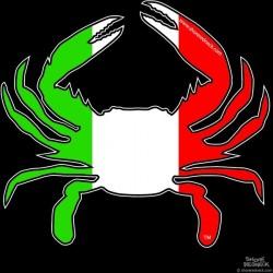 Shore Redneck Italian Flag Crab Decal