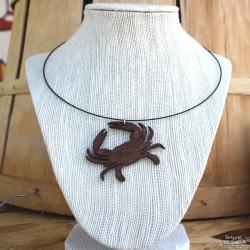 Shore Redneck Brown Crab Charm Choker Necklace
