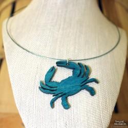 Shore Redneck Turquoise Crab Charm Choker Necklace