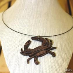 Shore Redneck Wenge Crab Charm Choker Necklace