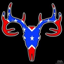 Shore Redneck Dixie Flag Buck Skull Decal