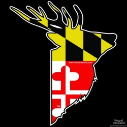 Shore Redneck Maryland Flag Sika Stag Profile Decal