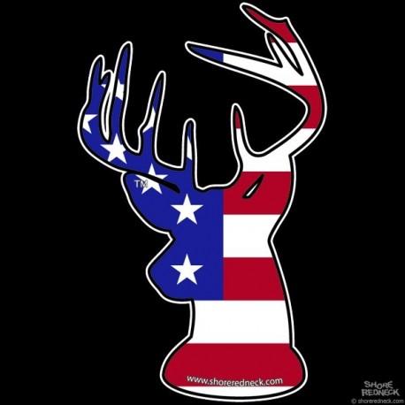 Shore Redneck U.S. Flag Buck Decal