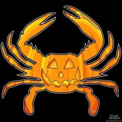 Shore Redneck Jack O Lantern Crab 1 Decal