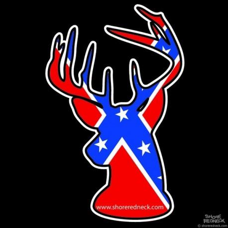 Shore Redneck Dixie Flag Buck Decal