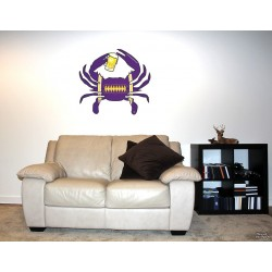 Shore Redneck Purple/Black/Gold Football Beer Crab Wall Decal