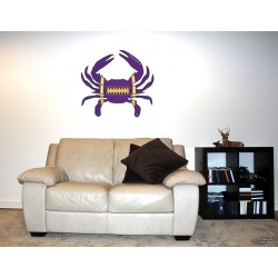 Shore Redneck Purple/Black/Gold Football Crab Wall Decal