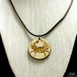 Shore Redneck Maryland Crab Circle Pendant Necklace