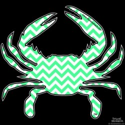 Shore Redneck Turquoise Chevron  Crab Decal
