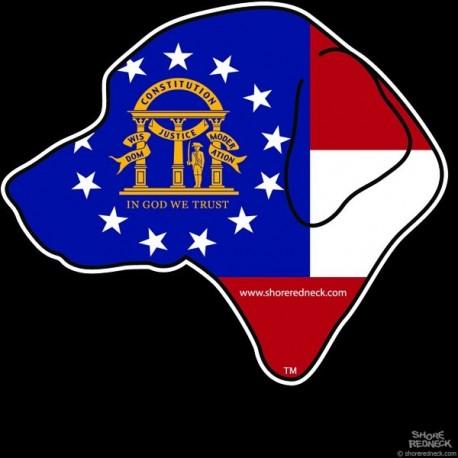 Shore Redneck GA Flag Retreiver Head Decal