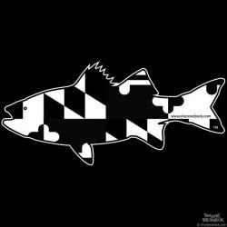 Shore Redneck Maryland B/W Rockfish Striper  Decal