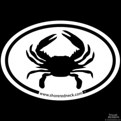 Shore Redneck Simple Crab Oval Decal