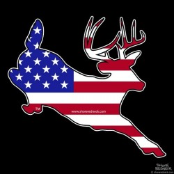 Shore Redneck U.S. Flag Jumping Buck Decal