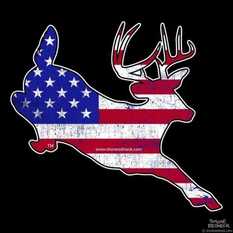 Shore Redneck Worn U.S. Flag Jumping Buck Decal