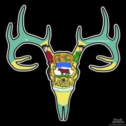Shore Redneck Delaware Buck Skull Decal