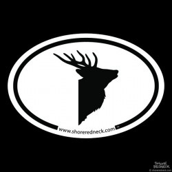 Shore Redneck Simple Sika Stag Profile Oval Decal