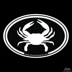 Shore Redneck Simple Crab Black Oval Decal