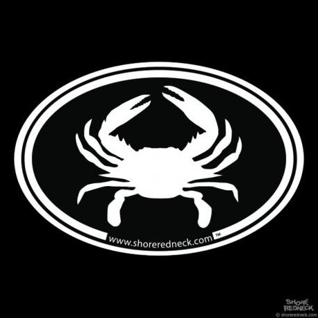 Shore Redneck Simple Crab Black Oval Decal