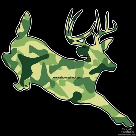 Shore Redneck Hunter Camo Jumping Buck Decal