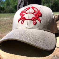 Shore Redneck Structured Khaki 3D Red Crab Snapback