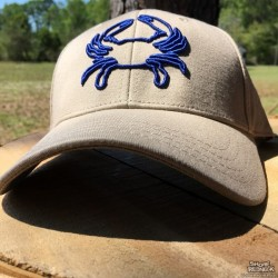 Shore Redneck Structured Khaki 3D Blue Crab Snapback