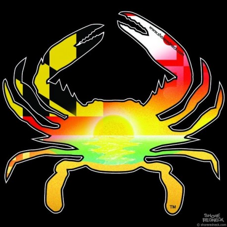 Shore Redneck MD Shore Sunset Crab Decal