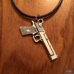 Shore Redneck Semi Auto Silver Pistol Necklace