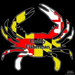 Shore Redneck MD Themed Crabby Fisherman Decal