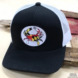 Shore Redneck Structured Black and White MD Crab Snapback