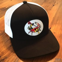 Shore Redneck Structured Black and White MD Lacrosse Crab Snapback