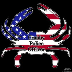 Shore Redneck USA Themed Crabby Police Officer Decal
