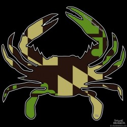 Shore Redneck MD Green n Tan Crab Decal