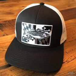 Shore Redneck MD Blackout Black n White Striper Hat