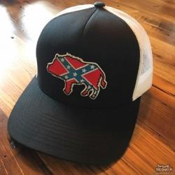 Shore Redneck Dixie Hog Black n White Snapback