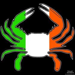 Shore Redneck Irish Flag Crab Decal