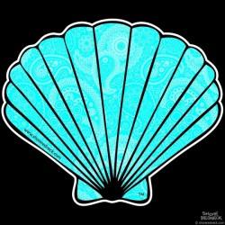 Shore Redneck Blue Paisley Fan Shell Decal