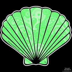 Shore Redneck Green Paisley Fan Shell Decal