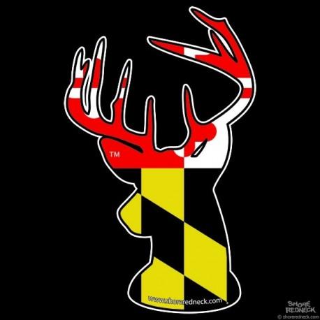 Shore Redneck Maryland Flag  Buck Decal