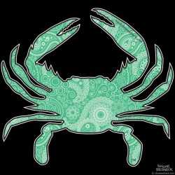 Shore Redneck Sea Foam Green Paisley Crab Decal