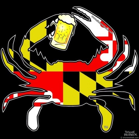 Shore Redneck MD Themed Beer Crab Decal